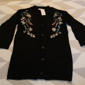 Long Black Cardigan Sweater with Flower Design